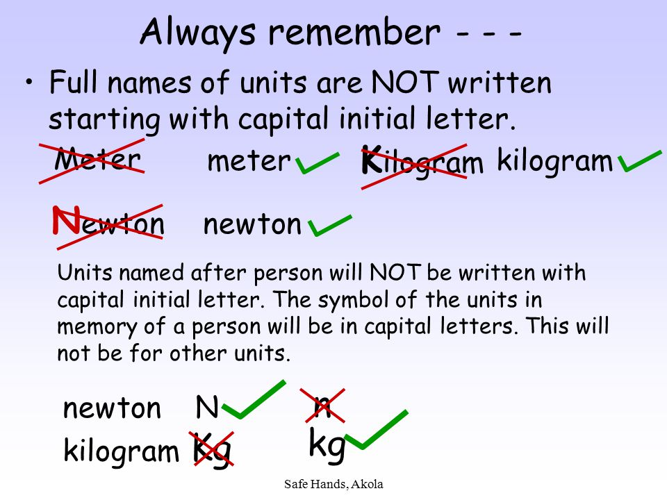 Always remember - - - Newton n kg Kg