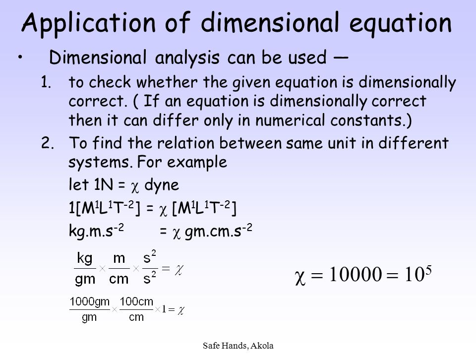 Application of dimensional equation