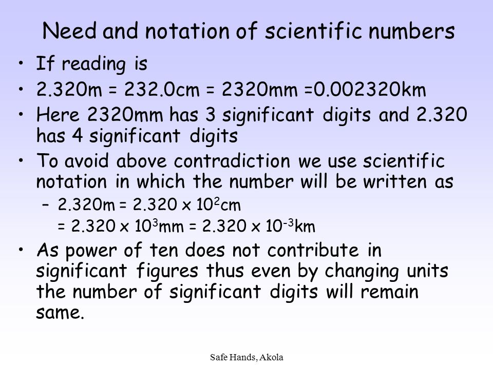 Need and notation of scientific numbers