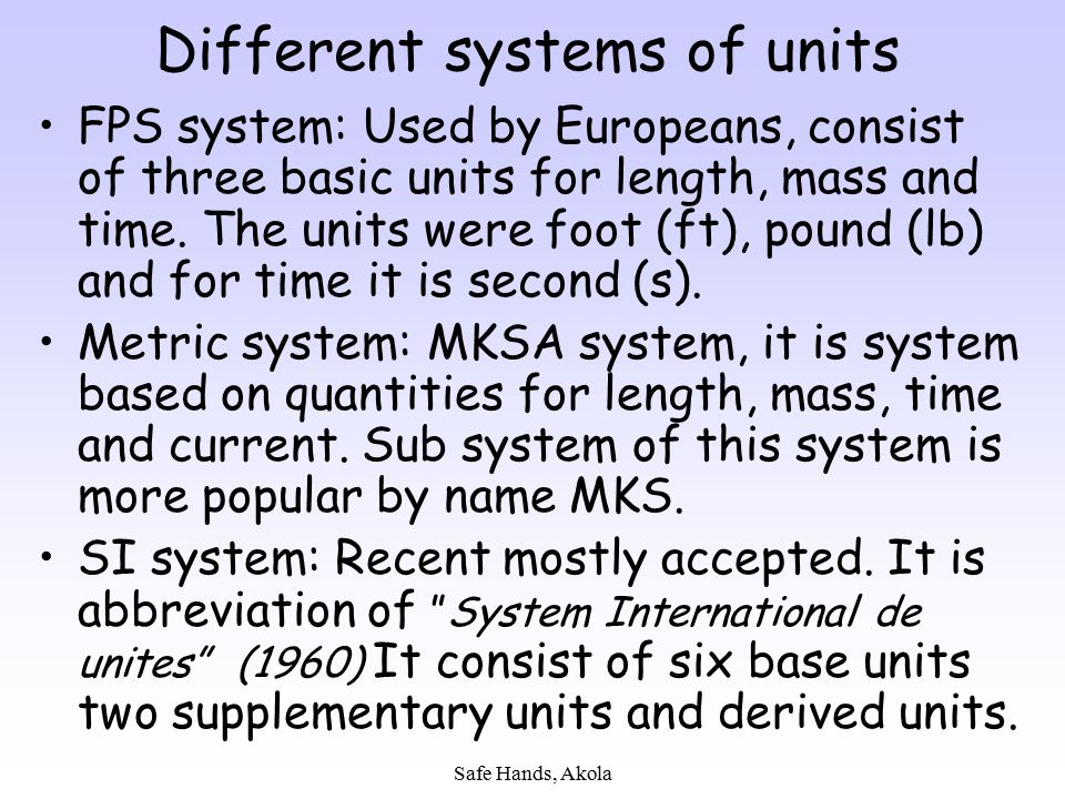 Different systems of units