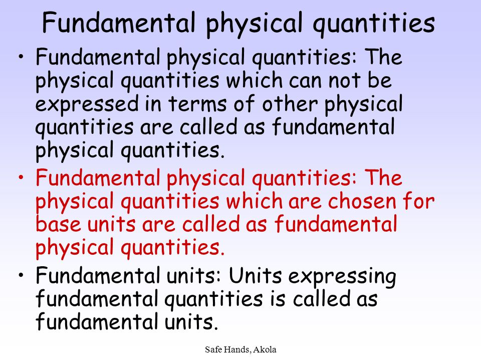 Fundamental physical quantities