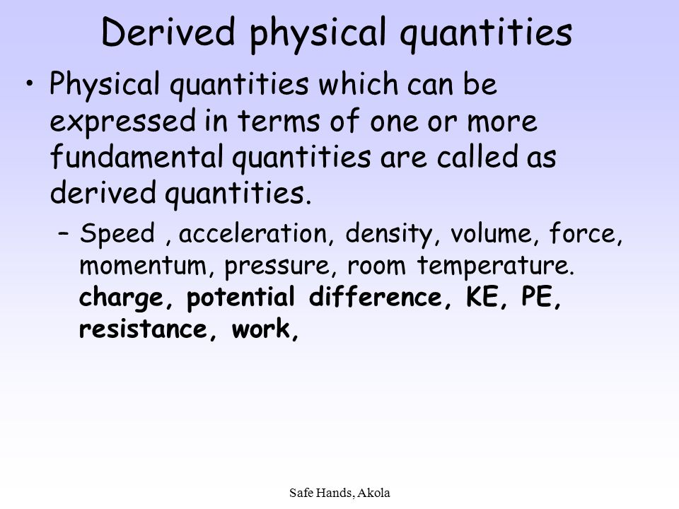 Derived physical quantities