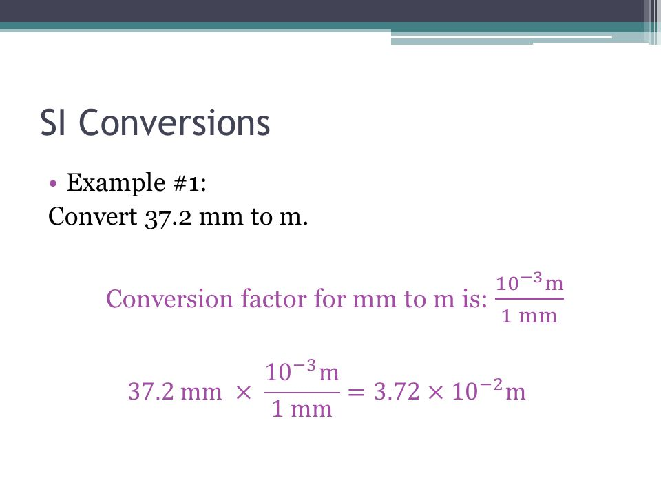 Conversion factor for mm to m is: 10 −3 m 1 mm