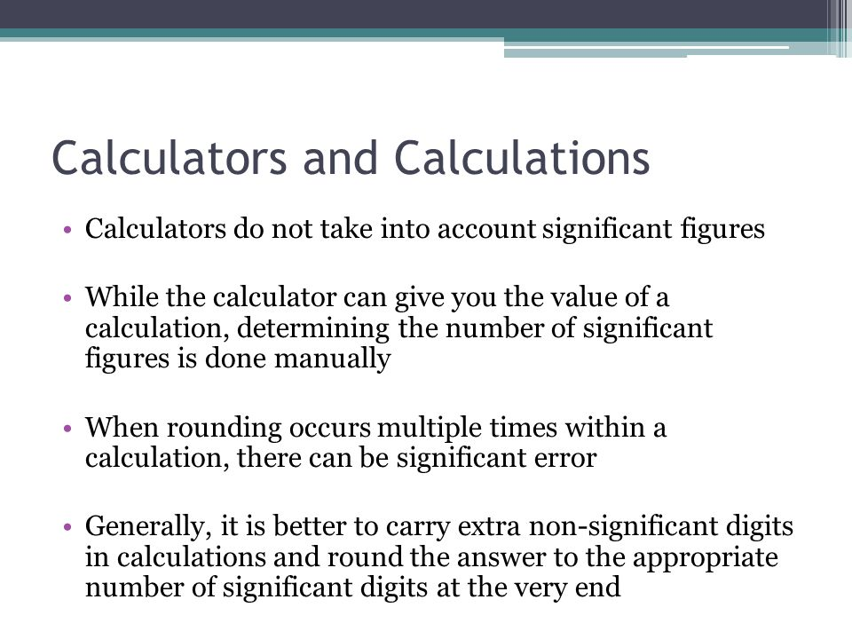 Calculators and Calculations