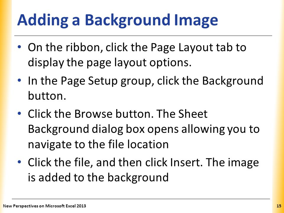 Adding a Background Image