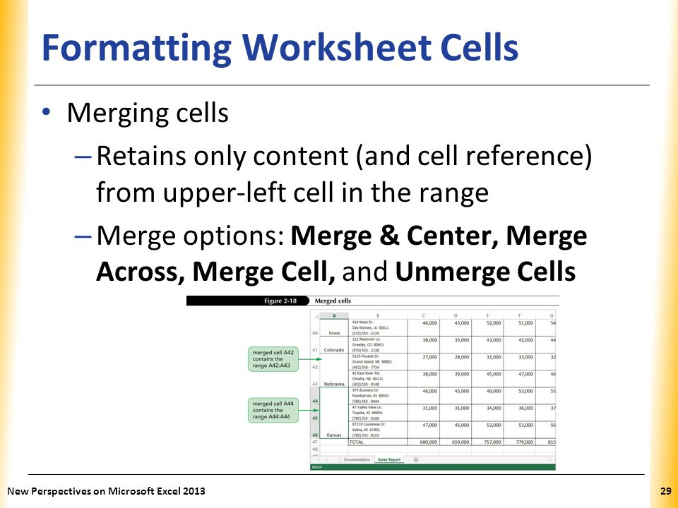 Formatting Worksheet Cells