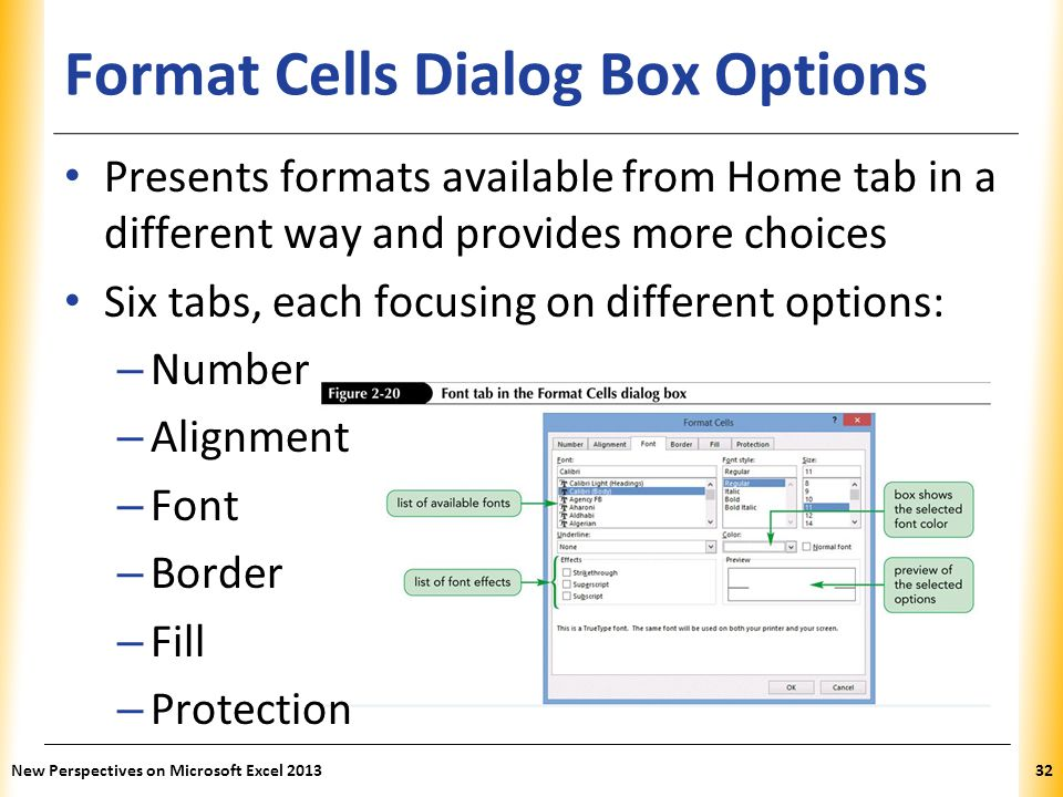 Format Cells Dialog Box Options