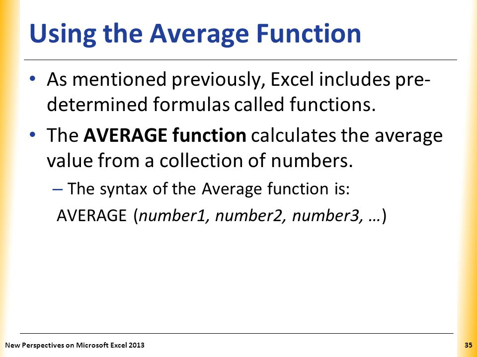 Using the Average Function