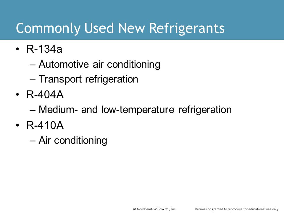 Commonly Used New Refrigerants