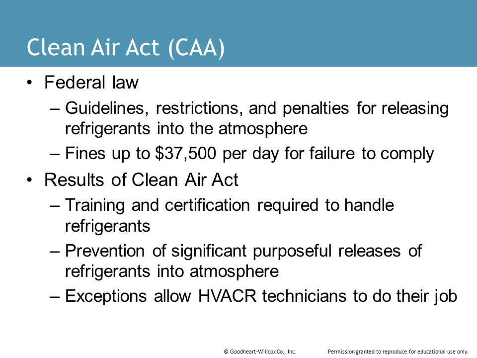 Clean Air Act (CAA) Federal law Results of Clean Air Act