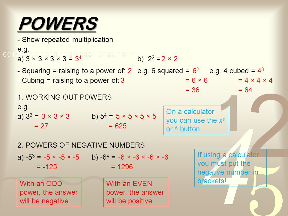 POWERS - Show repeated multiplication e.g. a) 3 × 3 × 3 × 3 = 34