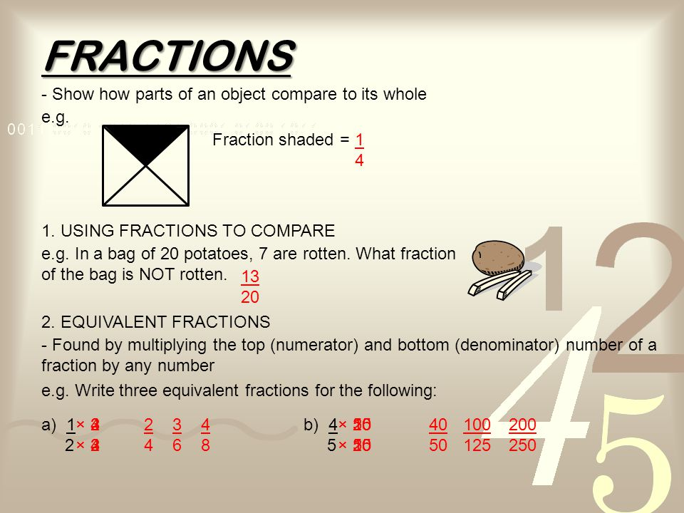 FRACTIONS - Show how parts of an object compare to its whole e.g.
