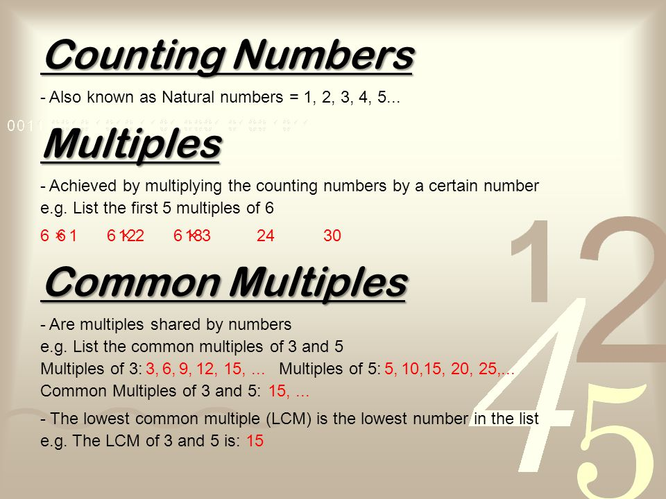 Counting Numbers Multiples Common Multiples