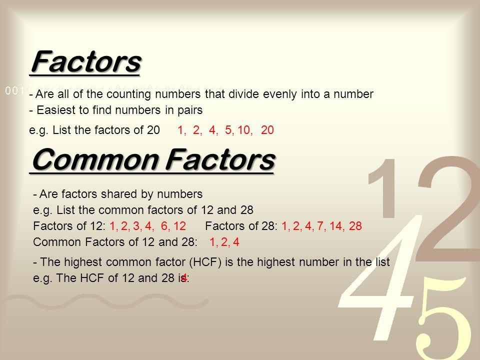 Factors Common Factors