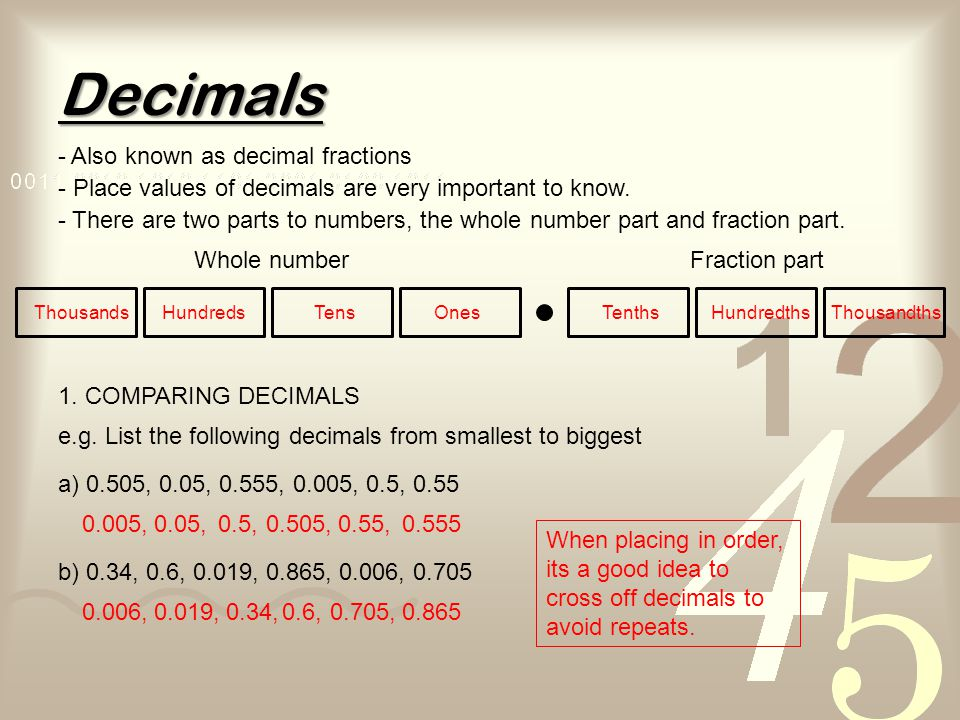 Decimals - Also known as decimal fractions