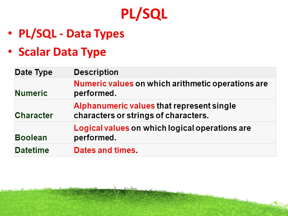PL/SQL PL/SQL - Data Types Scalar Data Type Date Type Description