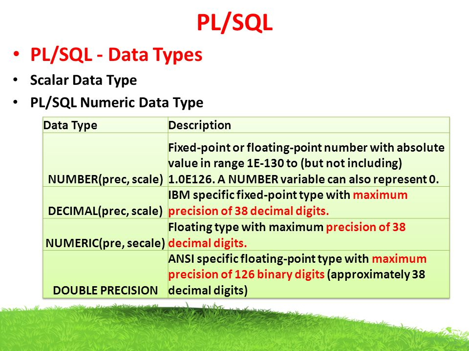 PL/SQL PL/SQL - Data Types Scalar Data Type PL/SQL Numeric Data Type