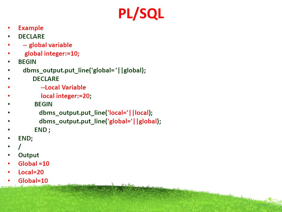PL/SQL Example DECLARE -- global variable global integer:=10; BEGIN