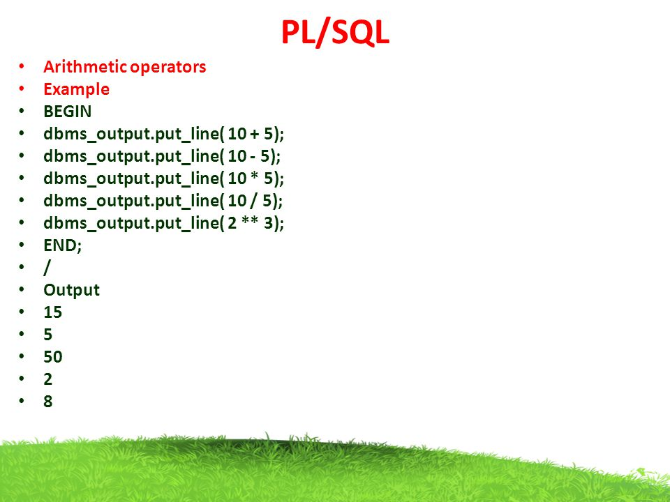 PL/SQL Arithmetic operators Example BEGIN