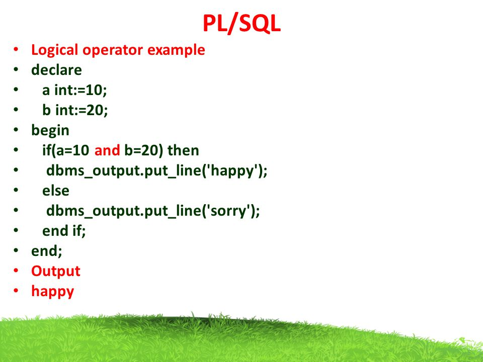 PL/SQL Logical operator example declare a int:=10; b int:=20; begin