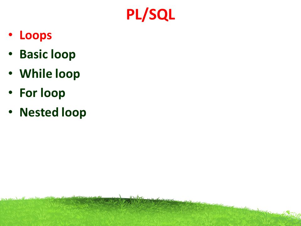 PL/SQL Loops Basic loop While loop For loop Nested loop