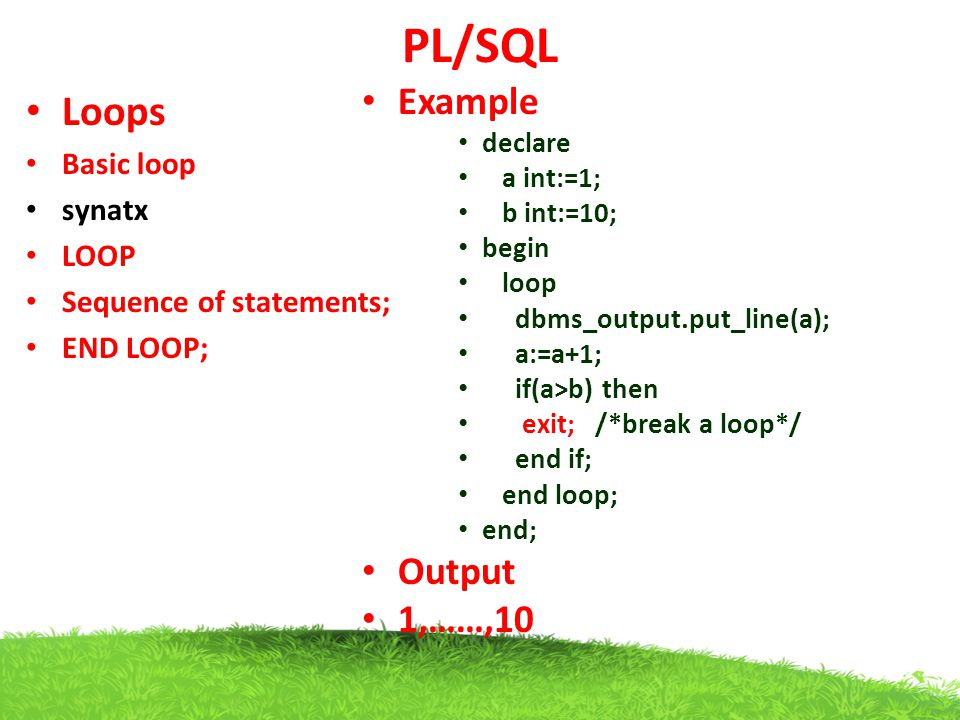 PL/SQL Loops Example Output 1,……,10 Basic loop synatx LOOP