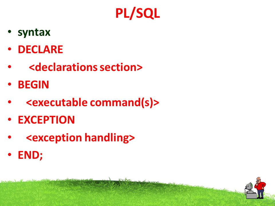 PL/SQL syntax DECLARE <declarations section> BEGIN