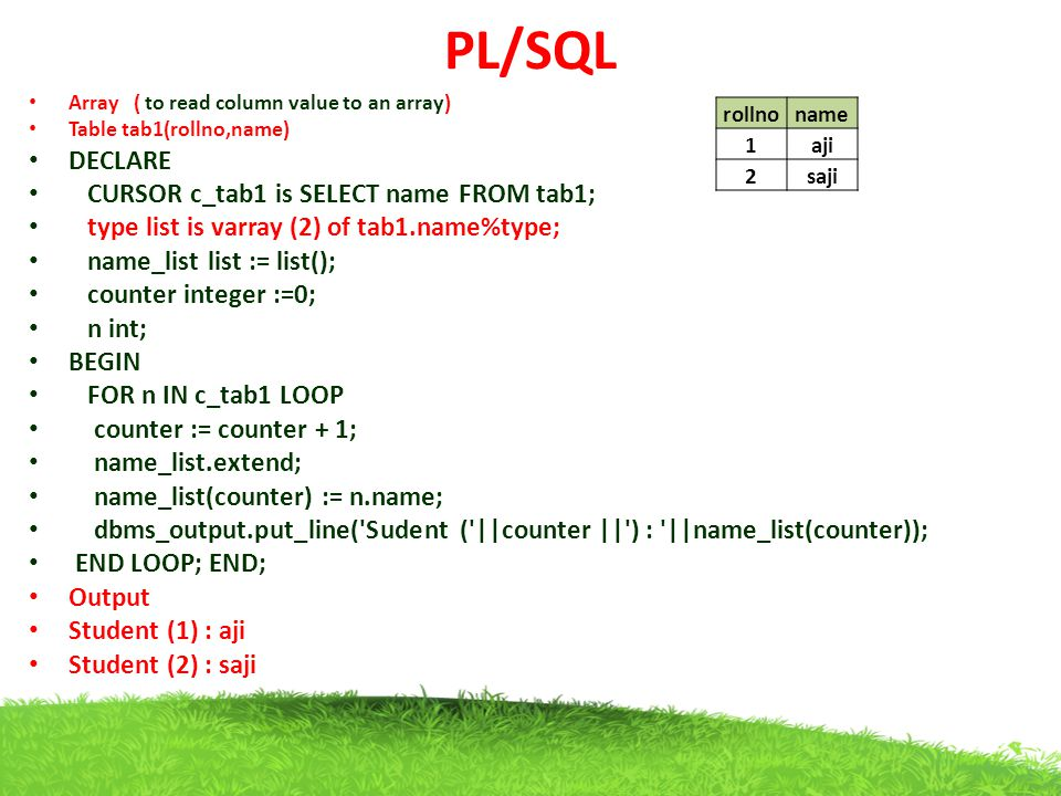 PL/SQL DECLARE CURSOR c_tab1 is SELECT name FROM tab1;