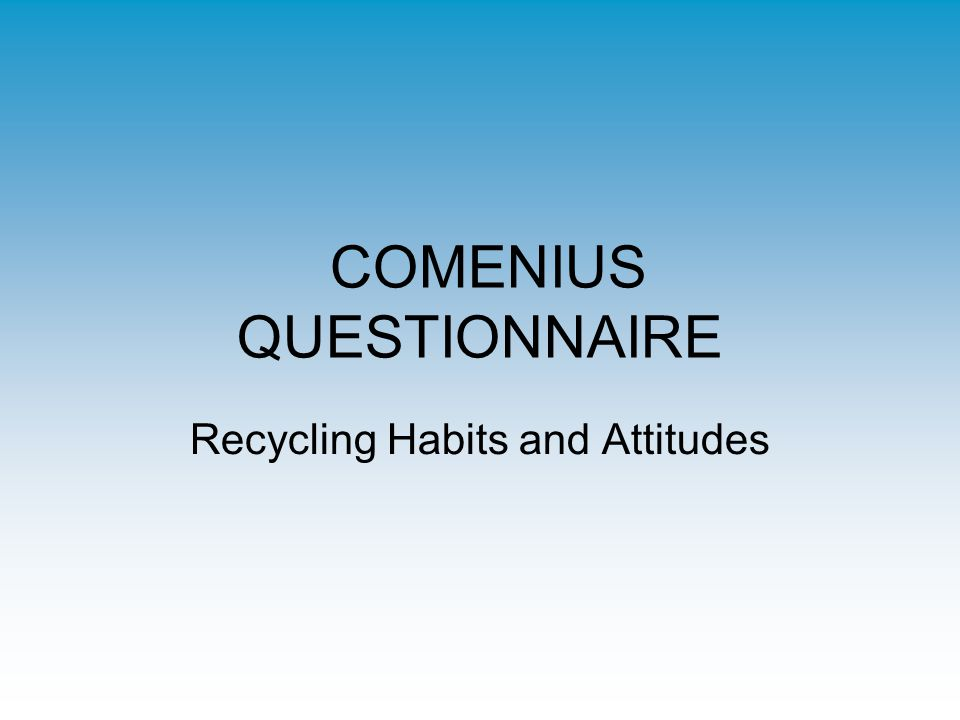 COMENIUS QUESTIONNAIRE