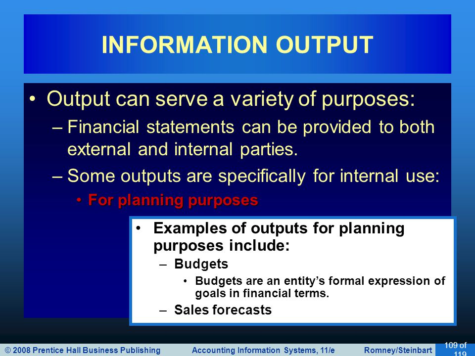 INFORMATION OUTPUT Output can serve a variety of purposes: