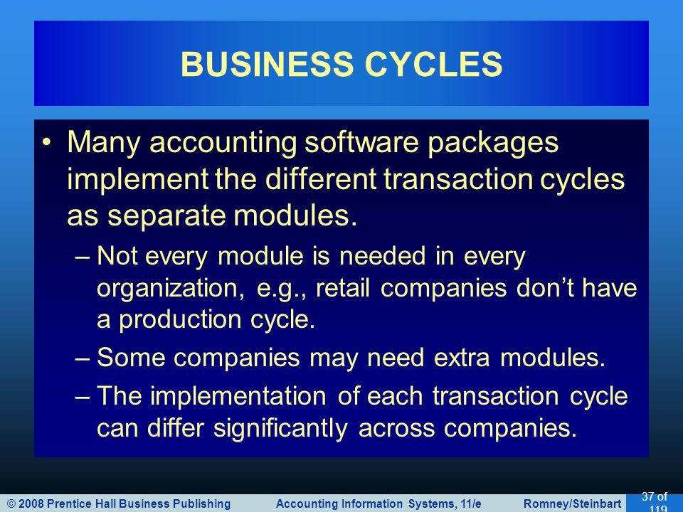 BUSINESS CYCLES Many accounting software packages implement the different transaction cycles as separate modules.