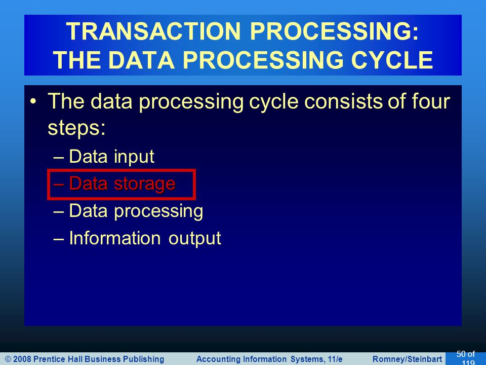 TRANSACTION PROCESSING: THE DATA PROCESSING CYCLE