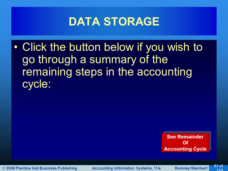 DATA STORAGE Click the button below if you wish to go through a summary of the remaining steps in the accounting cycle: