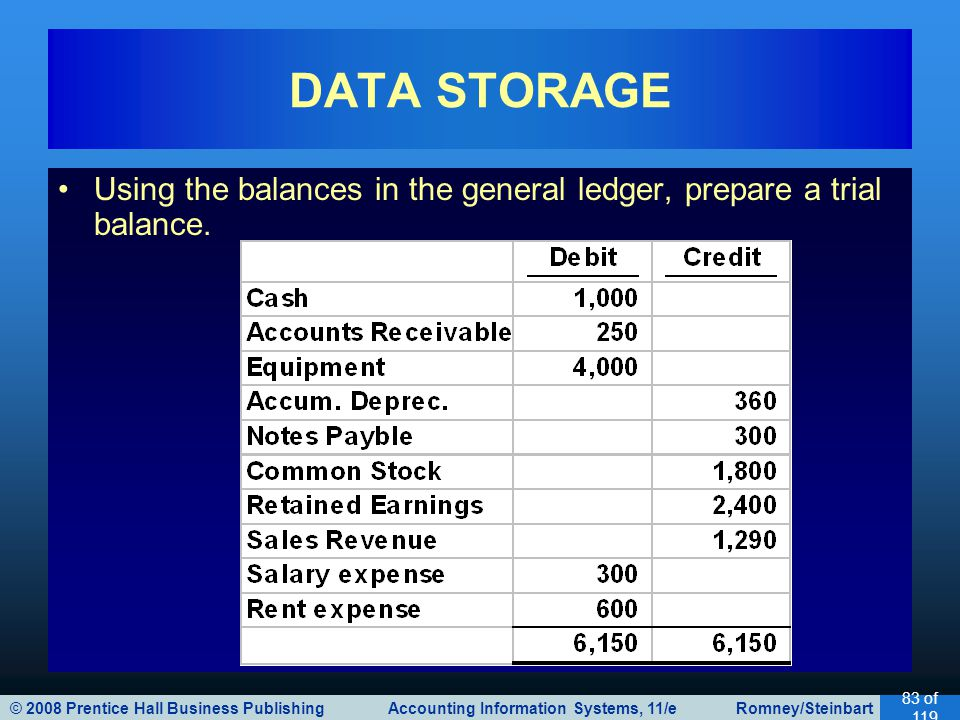 DATA STORAGE Using the balances in the general ledger, prepare a trial balance.