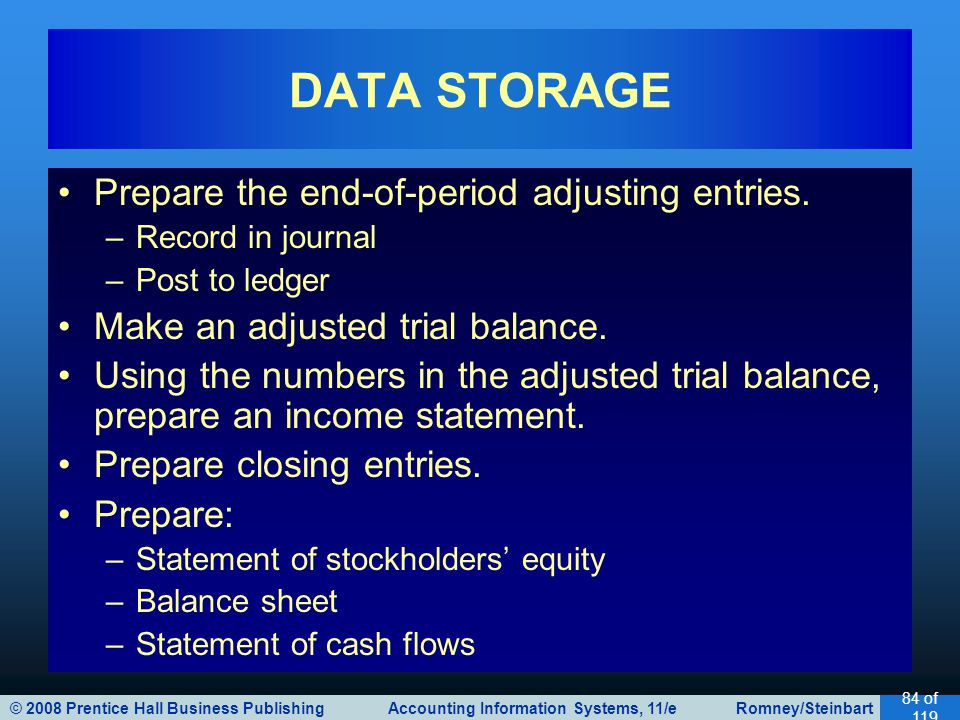 DATA STORAGE Prepare the end-of-period adjusting entries.