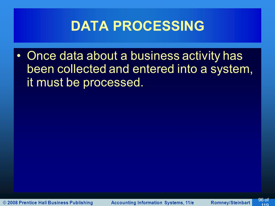 DATA PROCESSING Once data about a business activity has been collected and entered into a system, it must be processed.