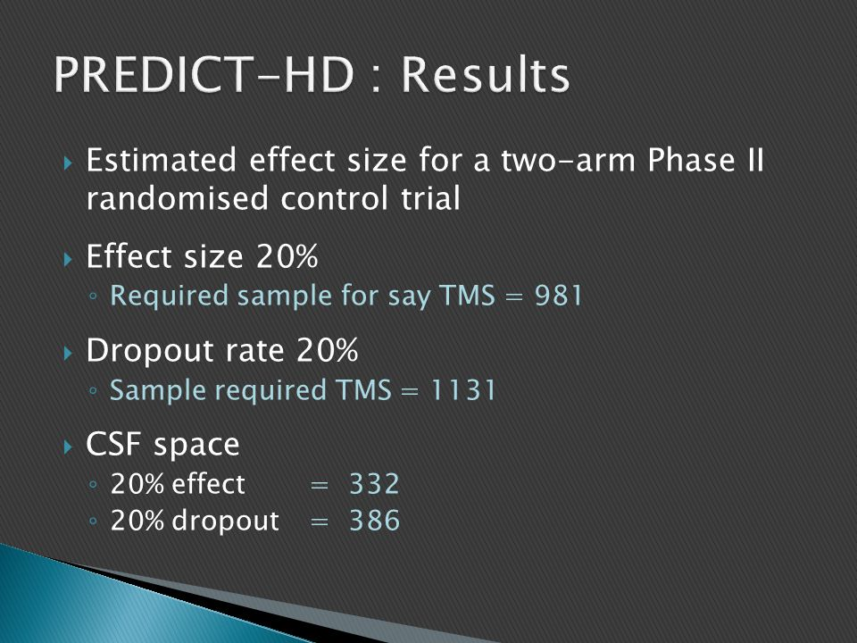 PREDICT-HD : Results Estimated effect size for a two-arm Phase II randomised control trial. Effect size 20%