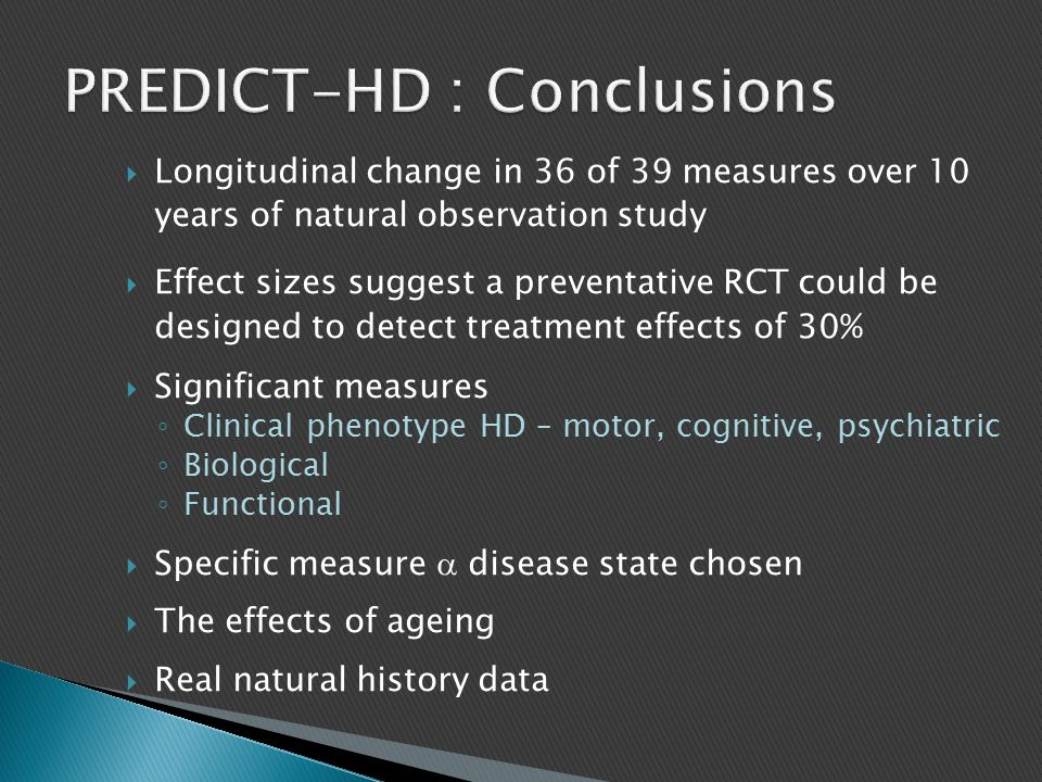 PREDICT-HD : Conclusions