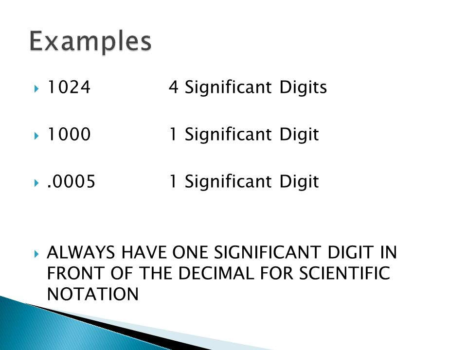 Examples 1024 4 Significant Digits 1000 1 Significant Digit