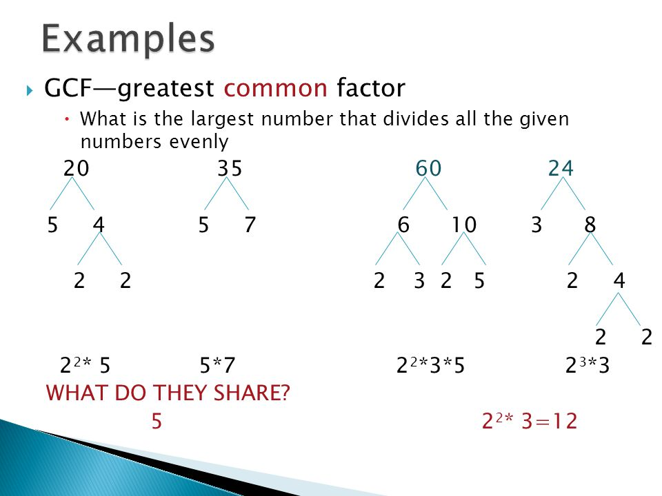 Examples GCF—greatest common factor 20 35 60 24 5 4 5 7 6 10 3 8