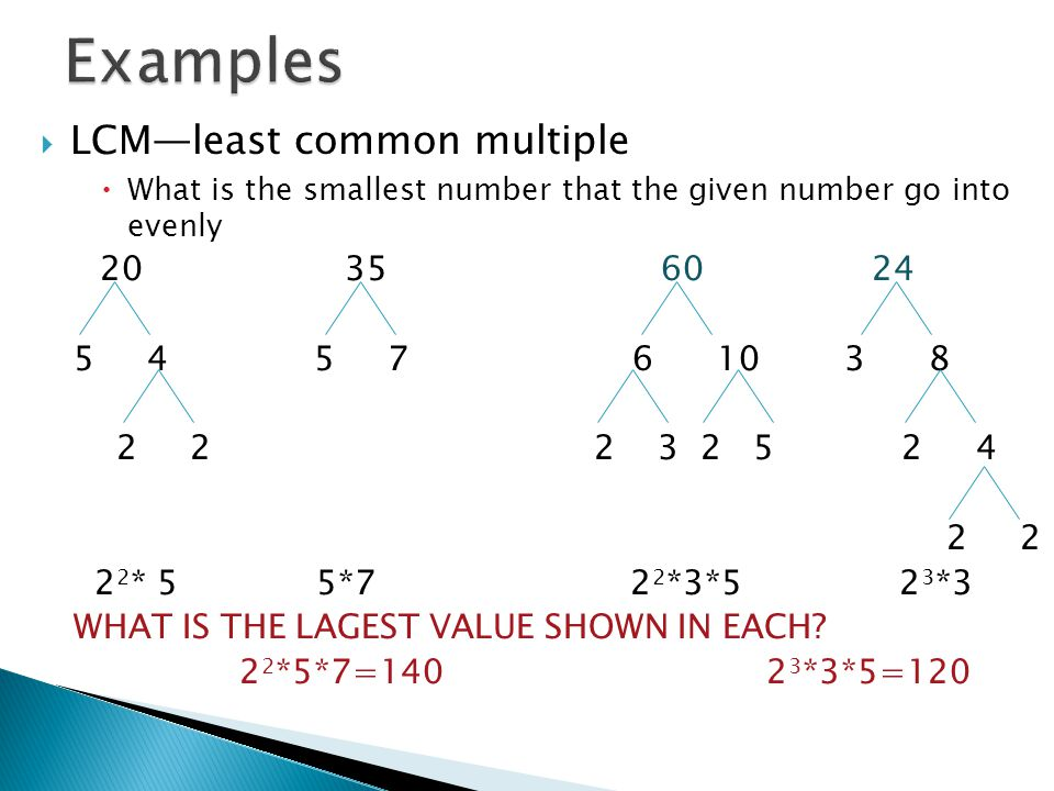 Examples LCM—least common multiple 20 35 60 24 5 4 5 7 6 10 3 8
