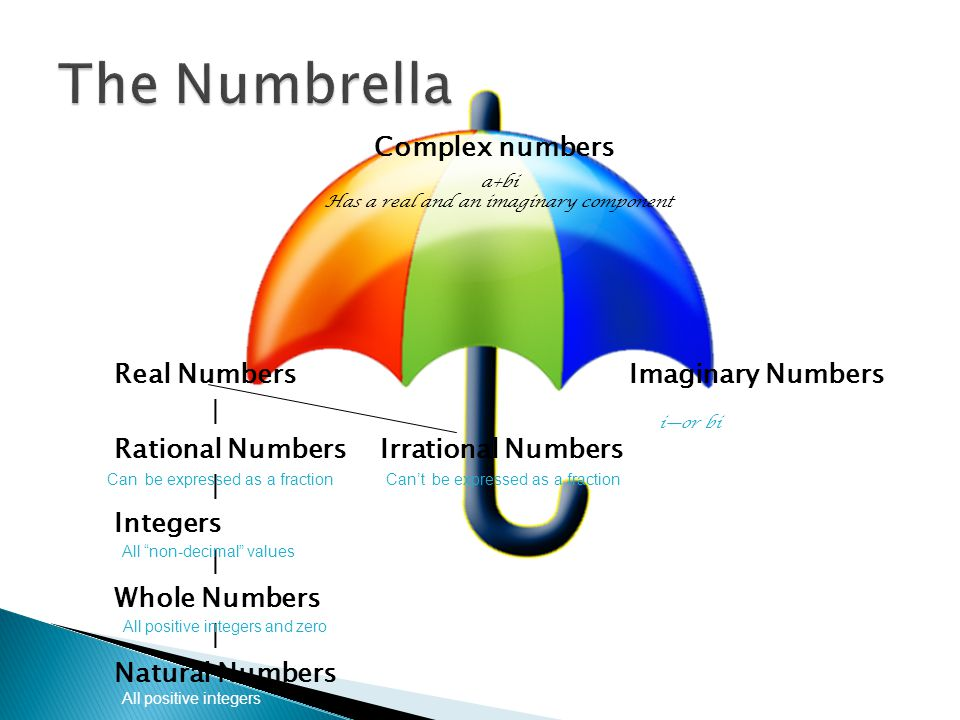 The Numbrella Complex numbers Real Numbers Imaginary Numbers |