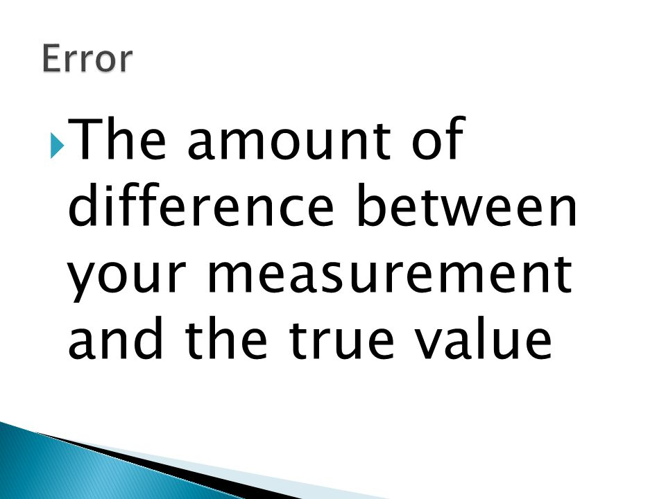 The amount of difference between your measurement and the true value