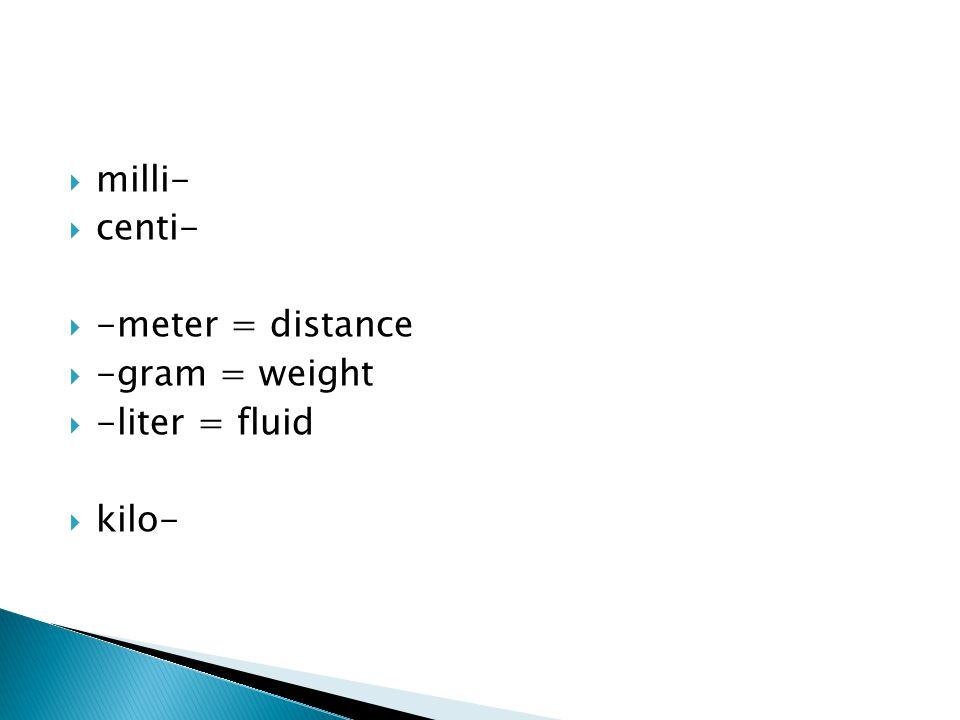 milli- centi- -meter = distance -gram = weight -liter = fluid kilo-
