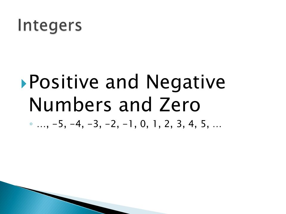 Positive and Negative Numbers and Zero