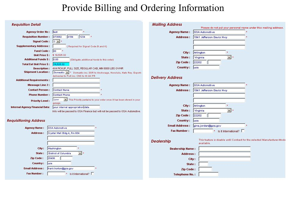 Provide Billing and Ordering Information