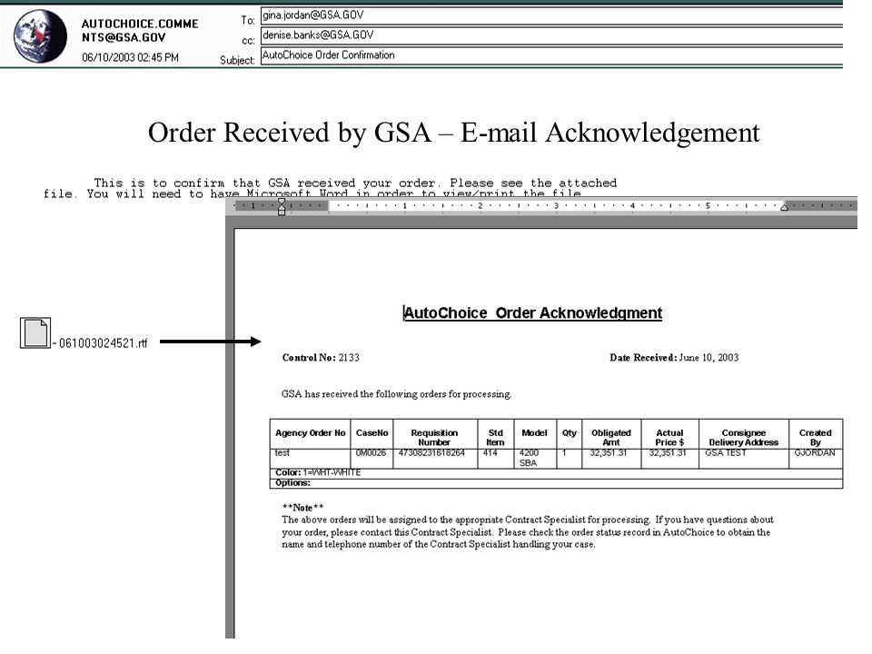 Order Received by GSA – E-mail Acknowledgement