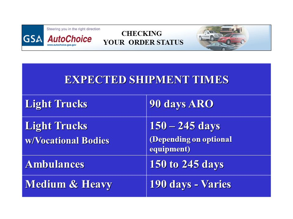 EXPECTED SHIPMENT TIMES