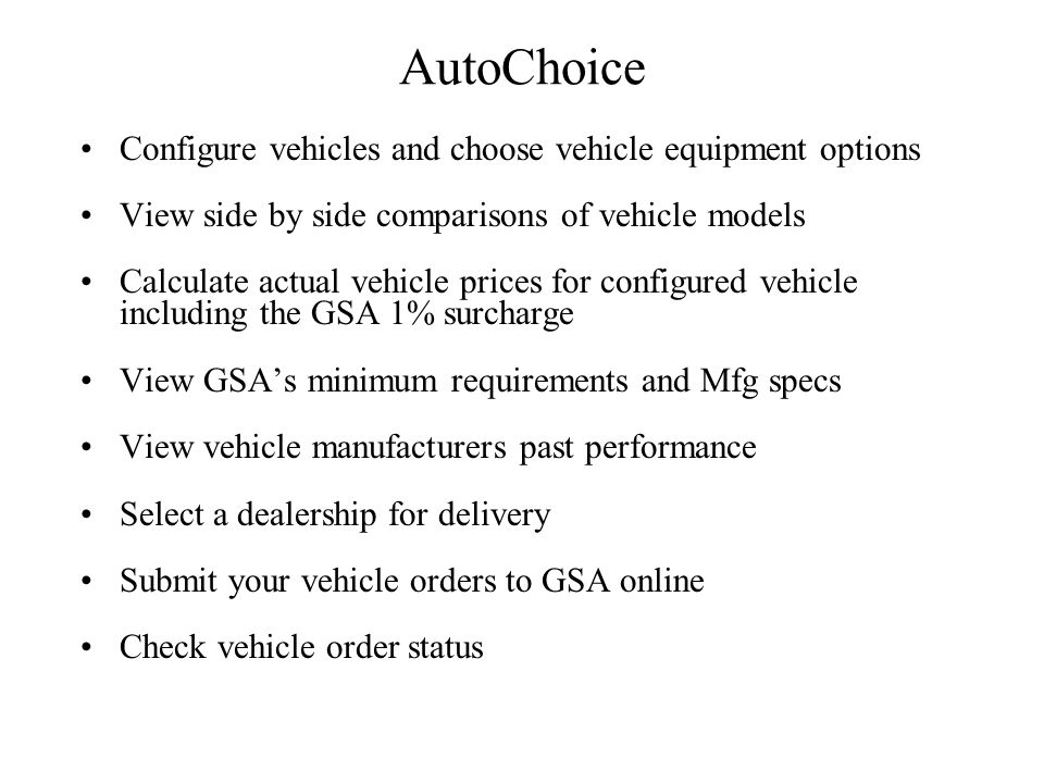 AutoChoice Configure vehicles and choose vehicle equipment options
