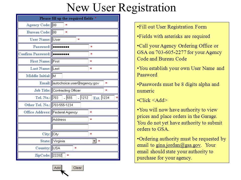 New User Registration Fill out User Registration Form